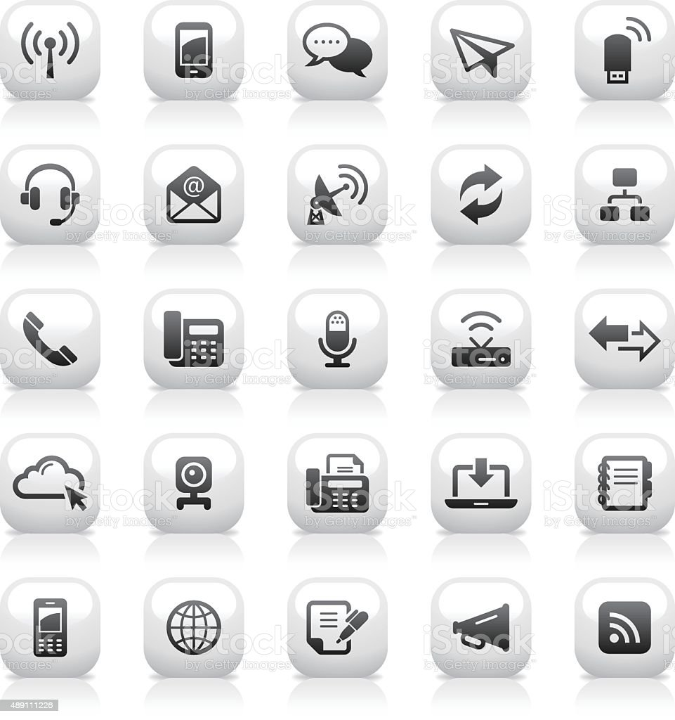 White Button Icons Set | Communication vector art illustration