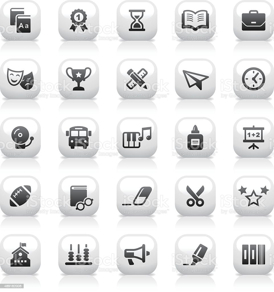 White Button Icons Set | Education vector art illustration