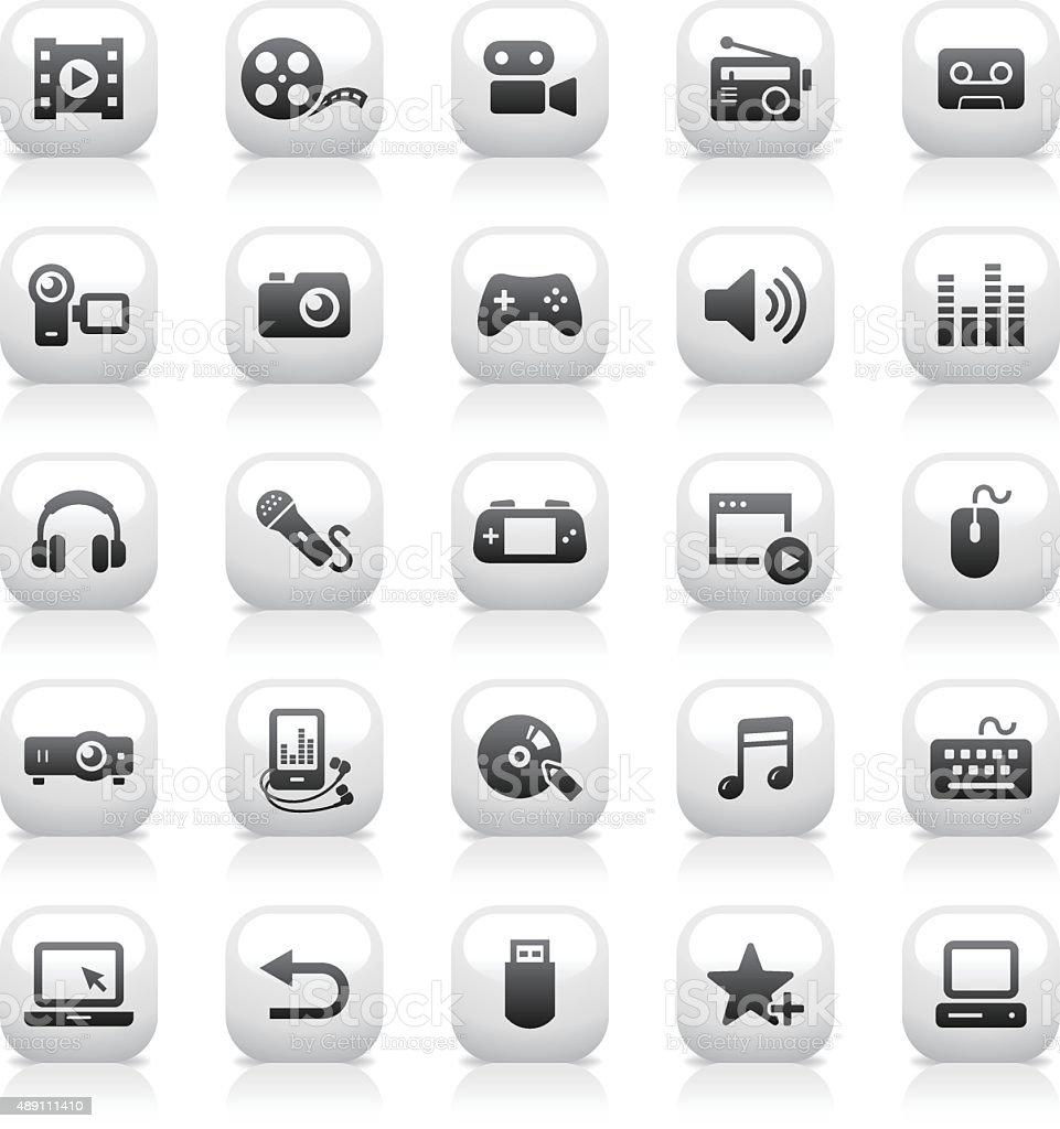 White Button Icons Set | Media vector art illustration