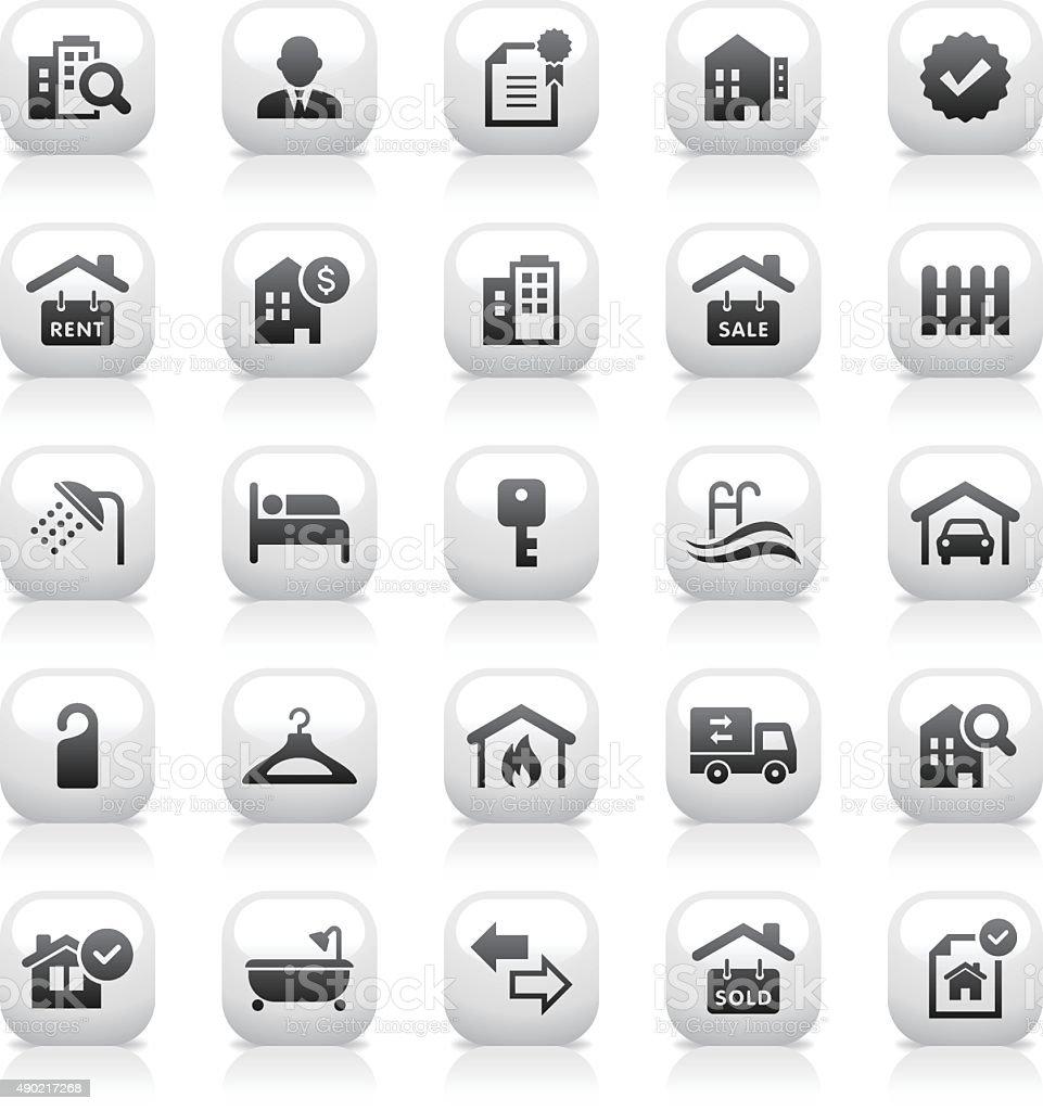 White Button Icons Set | Real Estate vector art illustration