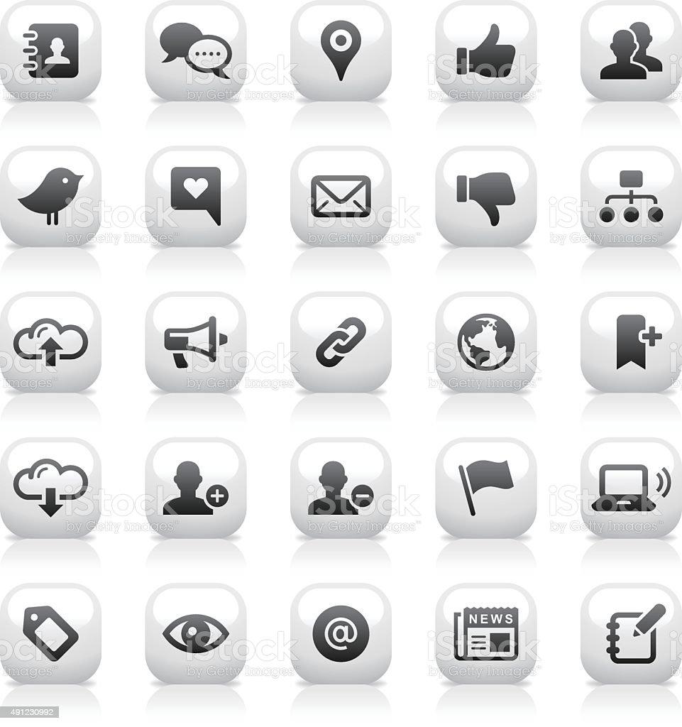 White Button Icons Set   Social Media vector art illustration