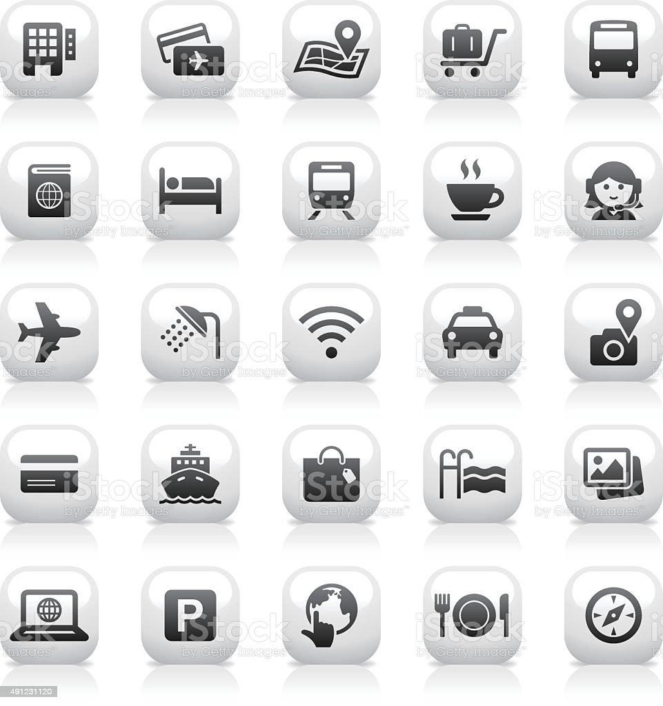 White Button Icons Set | Travel vector art illustration