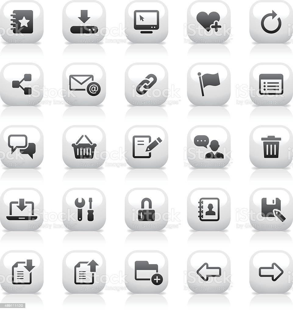 White Button Icons Set | Web & Internet vector art illustration