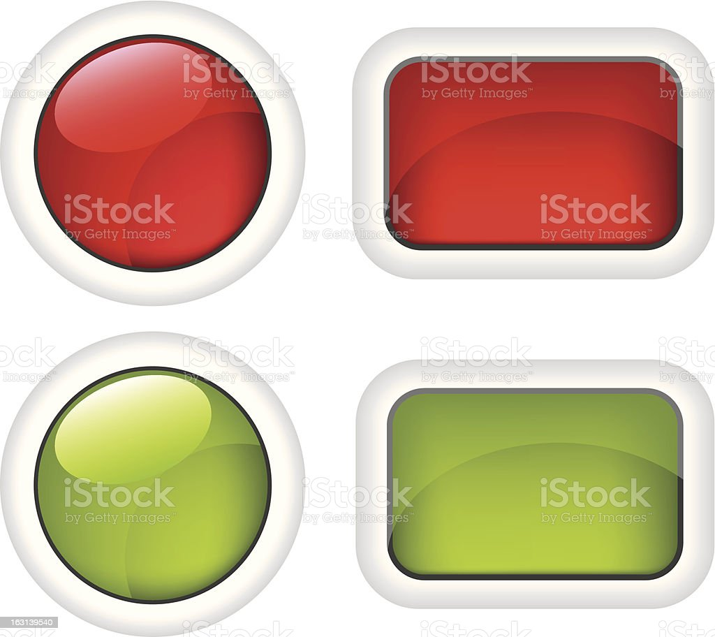 White buttons red and green  illustration royalty-free stock vector art