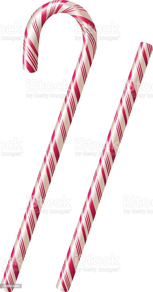 White candy canes with pink stripes over a white background royalty-free stock vector art