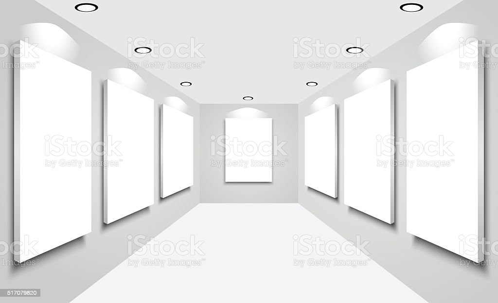 White canvas with spotlights for exhibit in the gallery vector art illustration