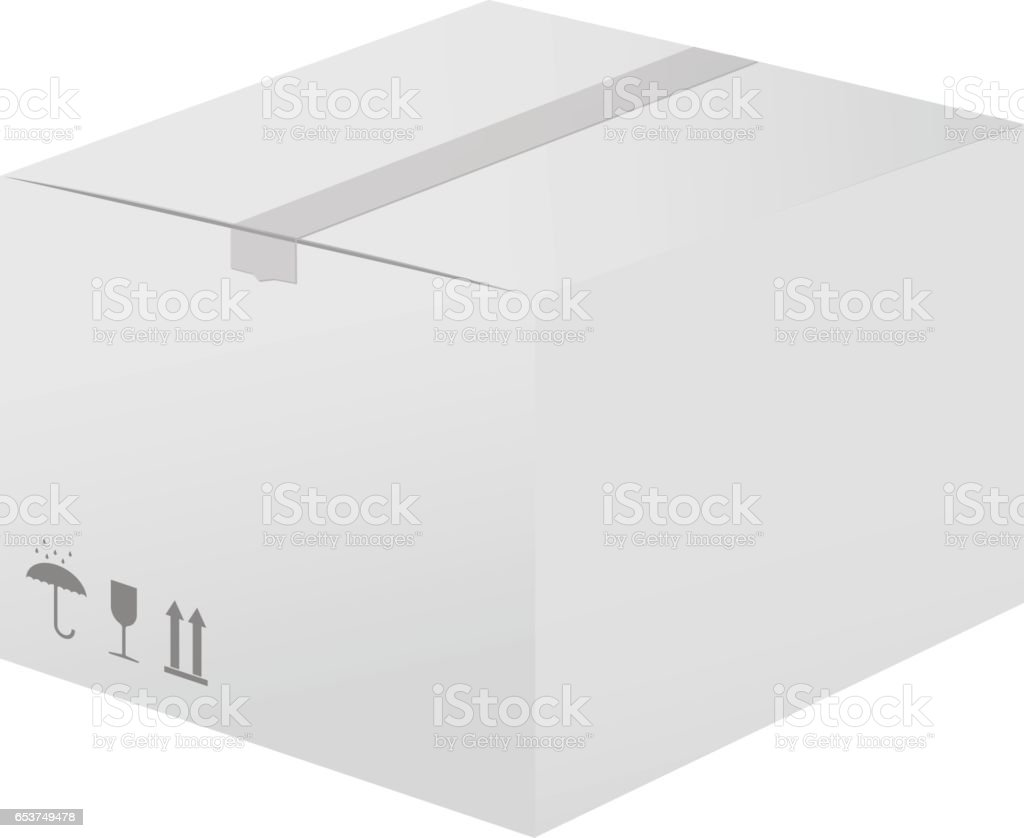White cardboard box. Closed package vector art illustration