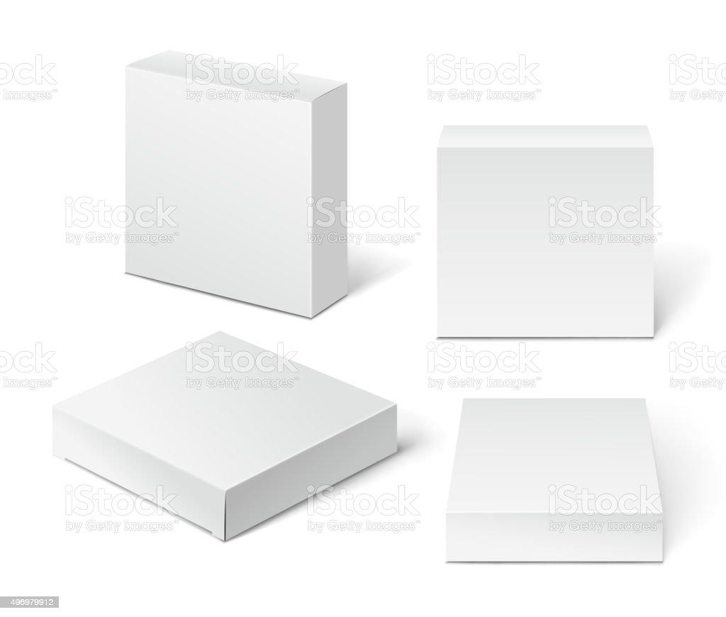 White Cardboard Package Box. Illustration Isolated On White Back vector art illustration