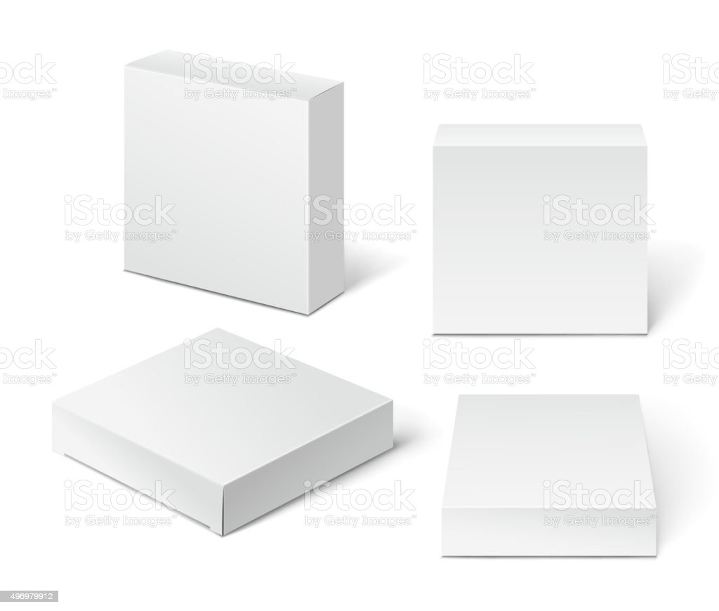 White Cardboard Package Box. Illustration Isolated On White Back vector art illustration
