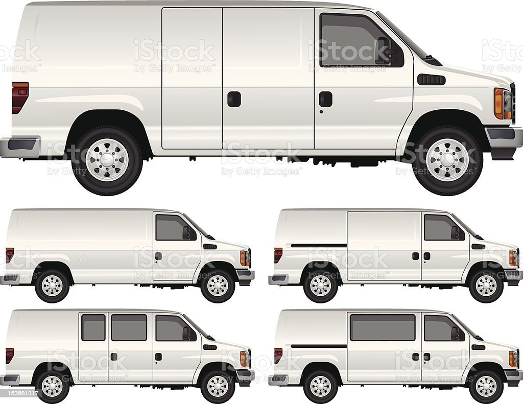 White Cargo Vans vector art illustration