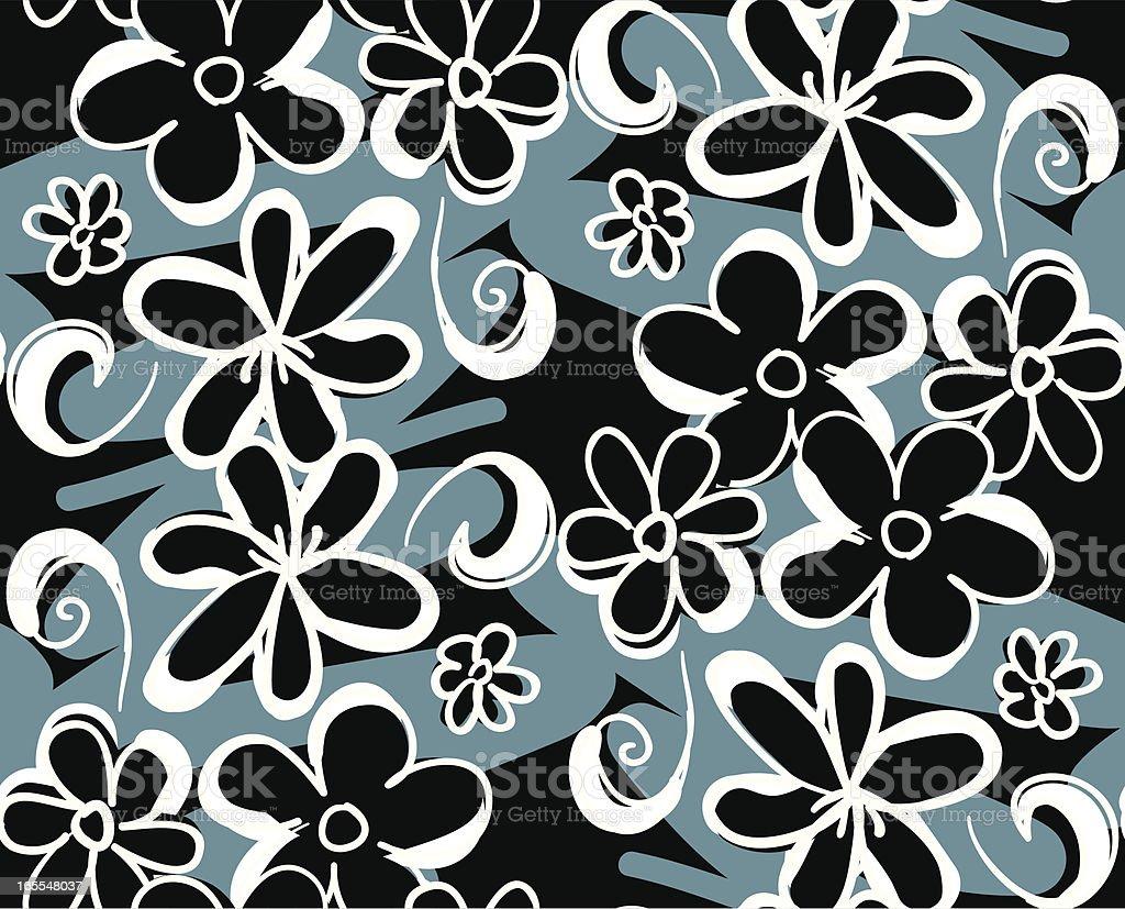 White Cartoon Flowers - Seamless pattern royalty-free stock vector art