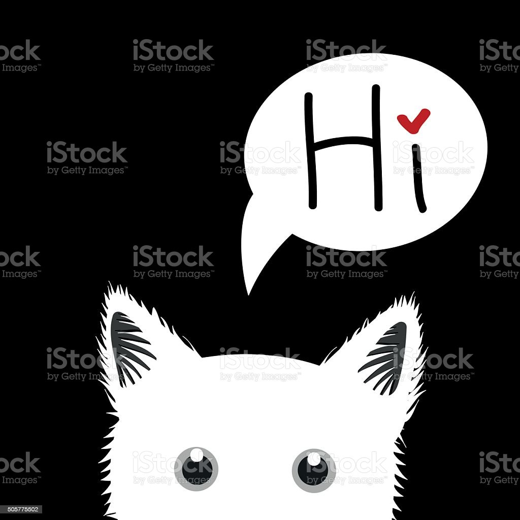 White Cat Sneaking Greeting Card vector art illustration