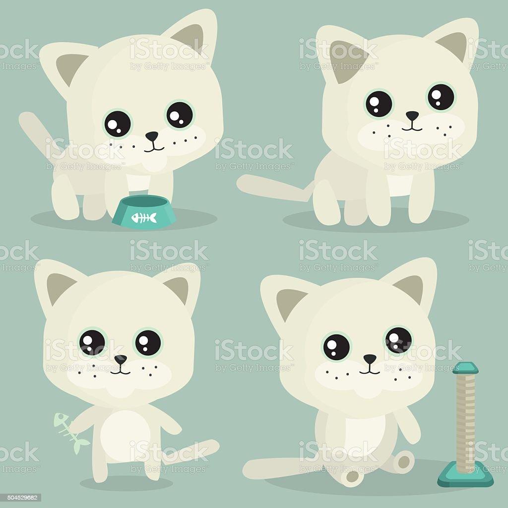 white cat vector art illustration