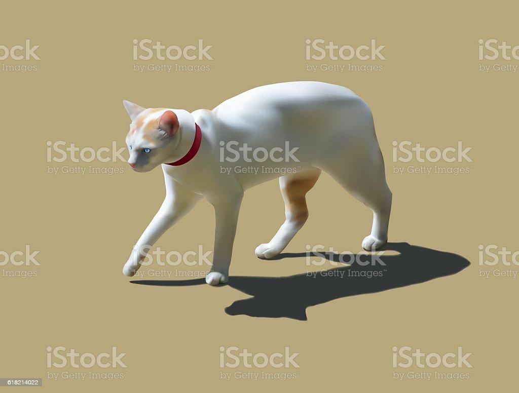 White cat walking vector art illustration