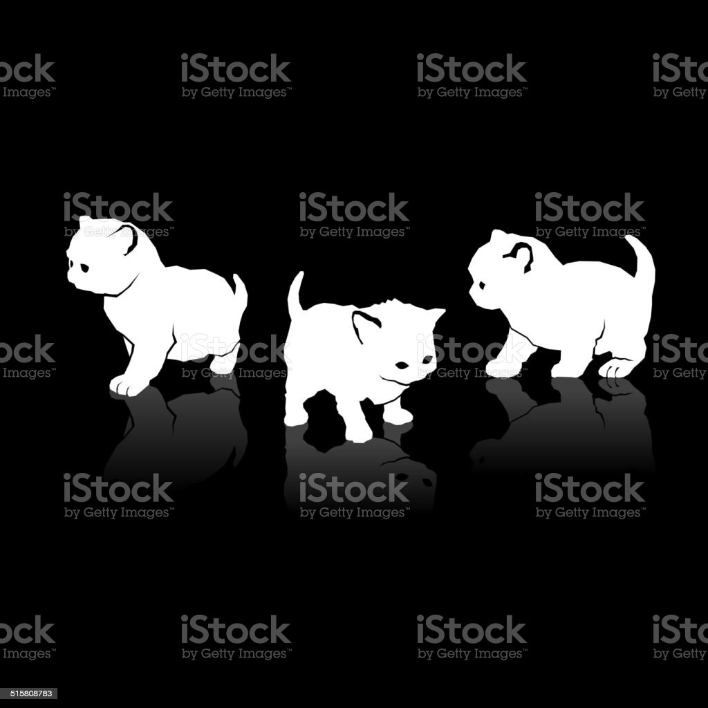 White Cats Silhouettes Icons on Black Background. Vector royalty-free stock vector art