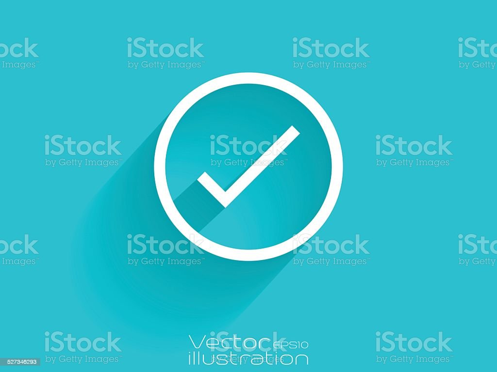 White check icon on blue background vector art illustration