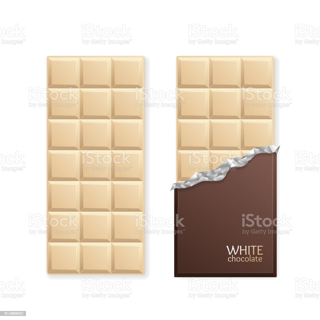 White Chocolate Package Bar Blank. Vector vector art illustration