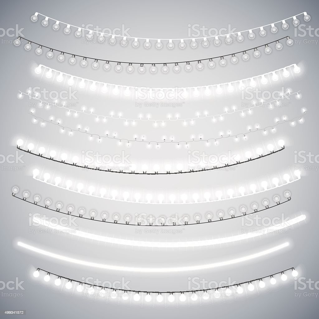 White Christmas Electric Garlands Set vector art illustration