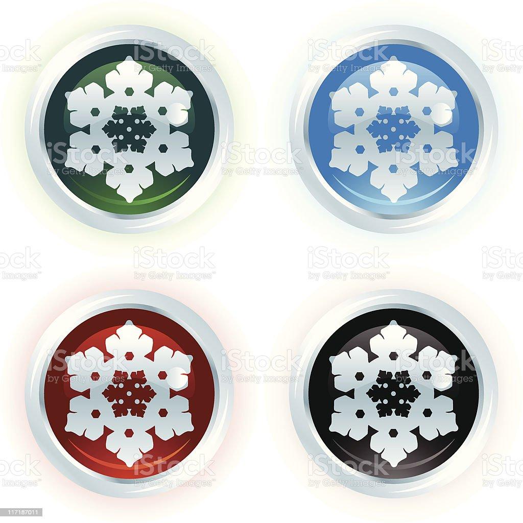 White Christmas Icon Series: Snowflake vector art illustration