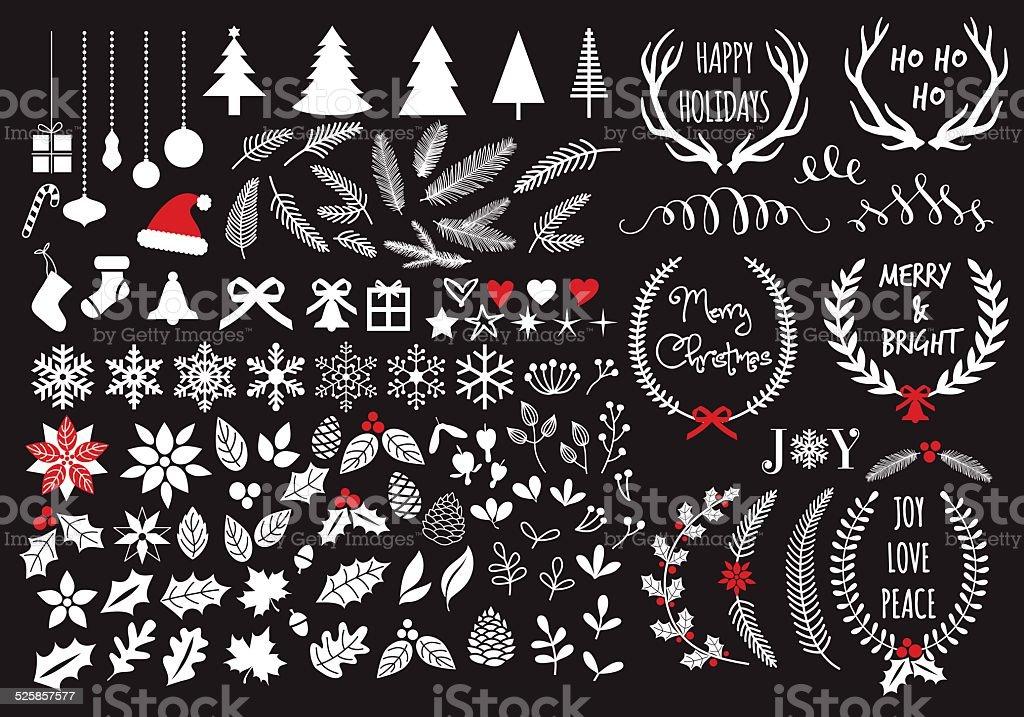 White Christmas, vector set vector art illustration