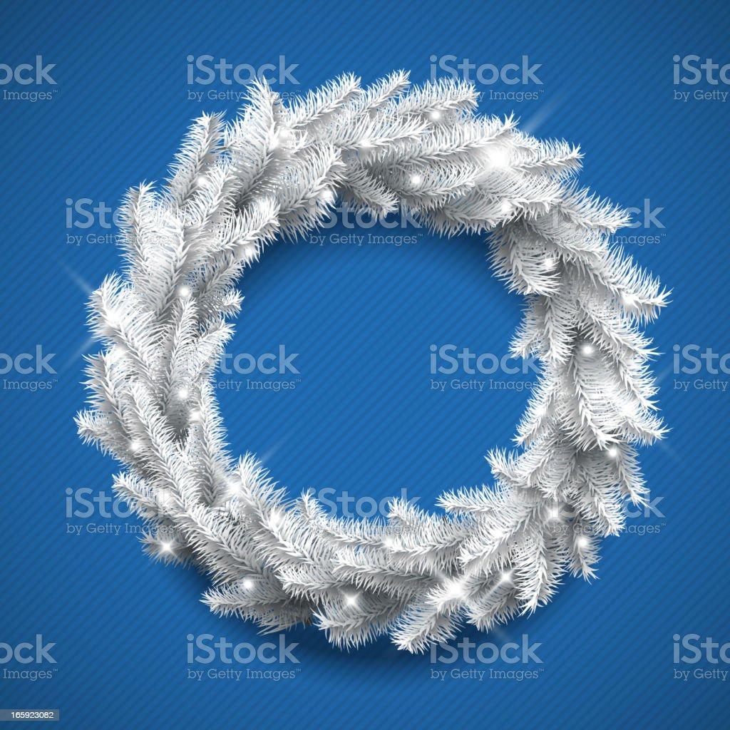 White Christmas Wreath vector art illustration