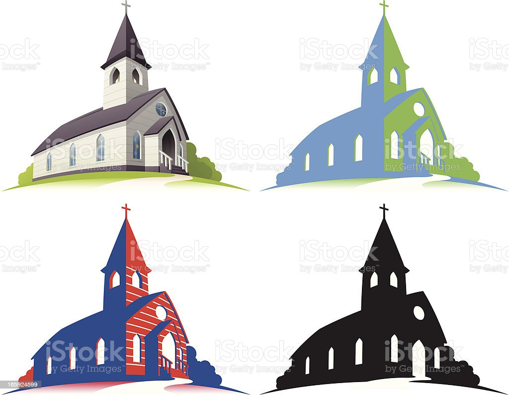 White Church vector art illustration