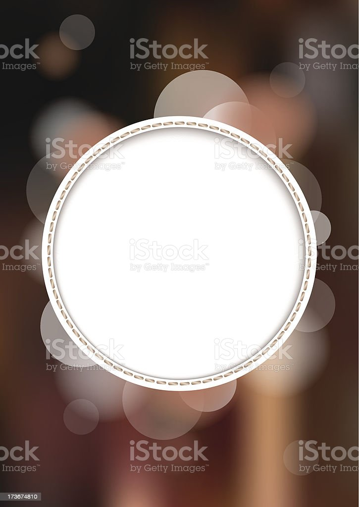 White circle on brown blurry background. royalty-free stock vector art