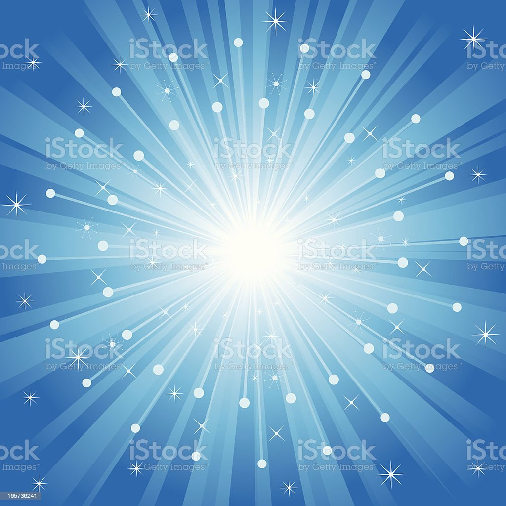 A white circle radiating light into a blue background royalty-free stock vector art