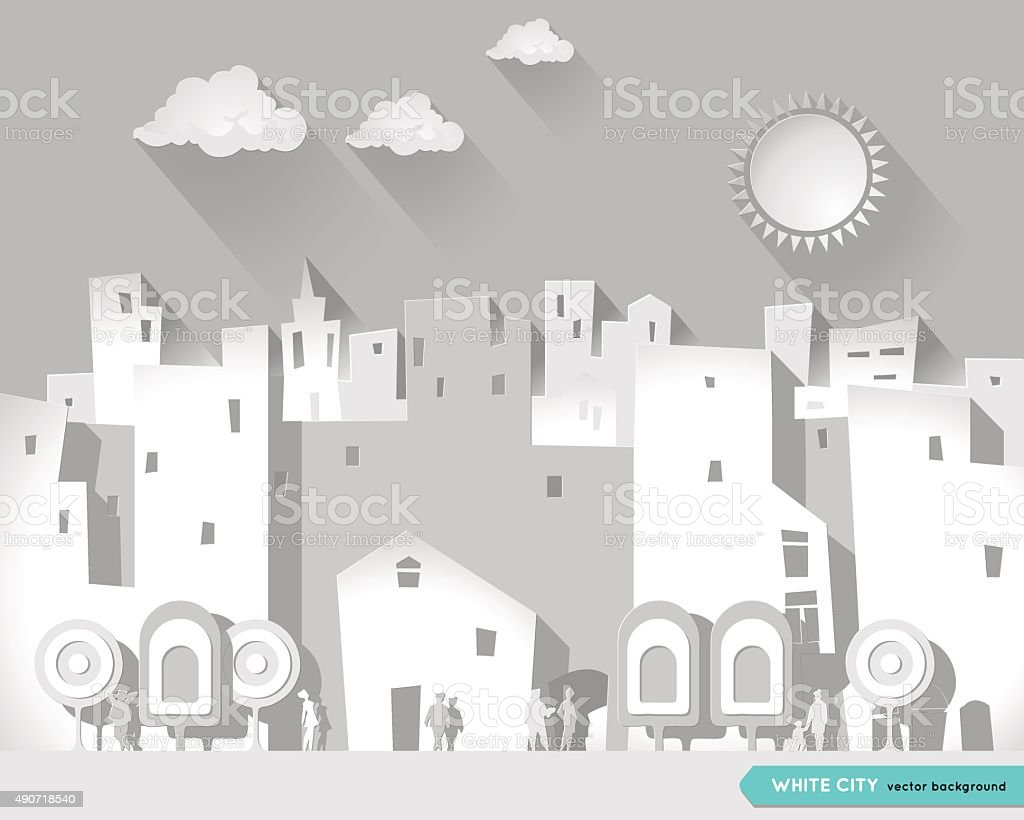White city. Cartoon style. Postcard. Poster.  Urban city Background. vector art illustration