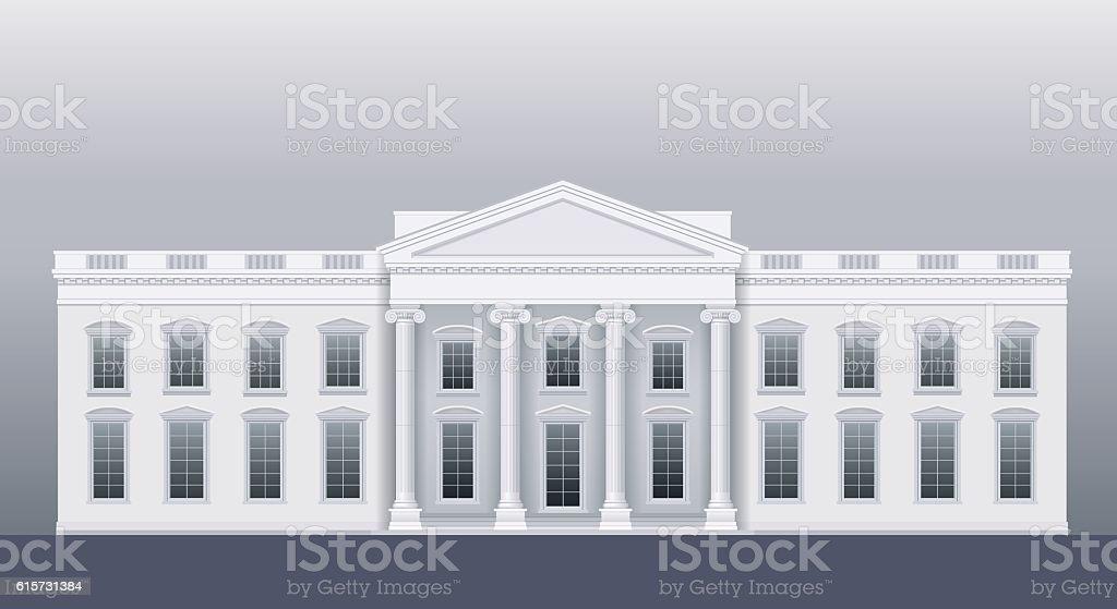 White classic house vector art illustration