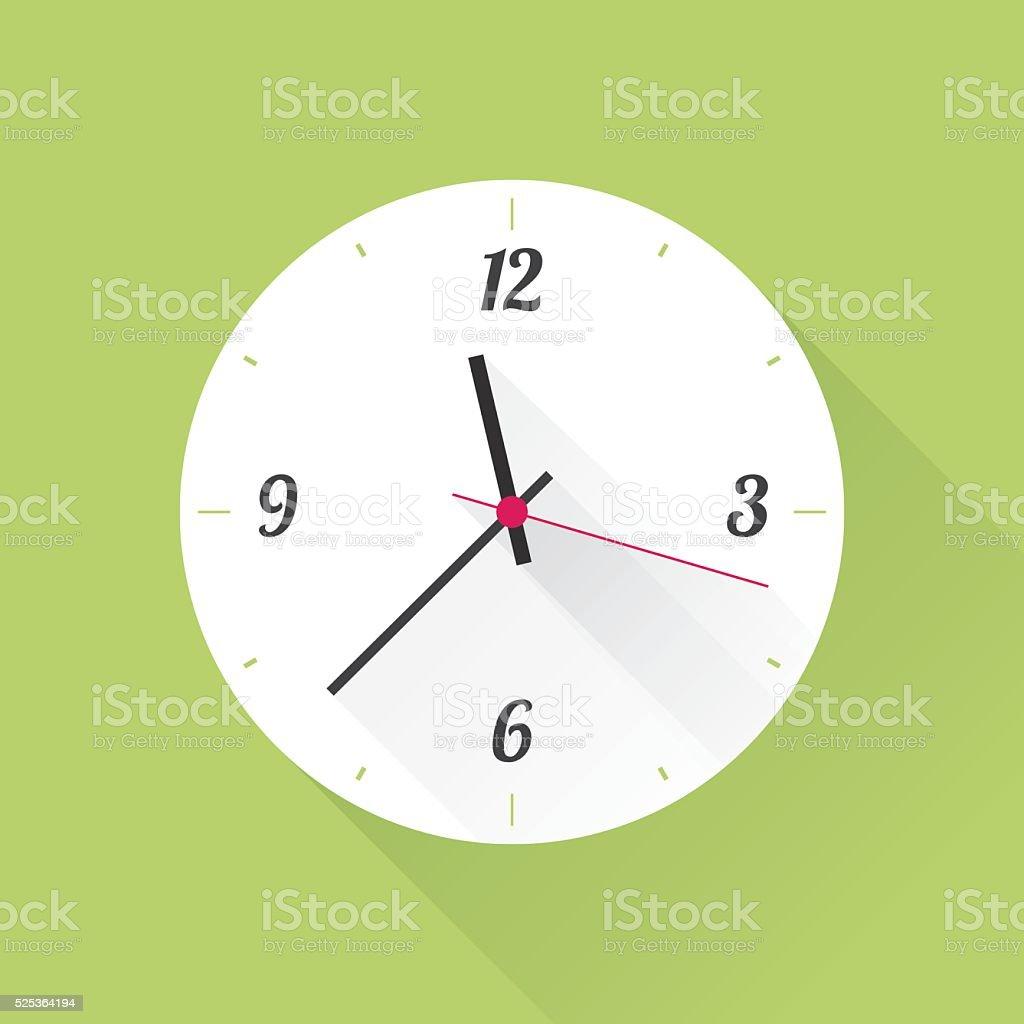 white clock on a green background vector art illustration