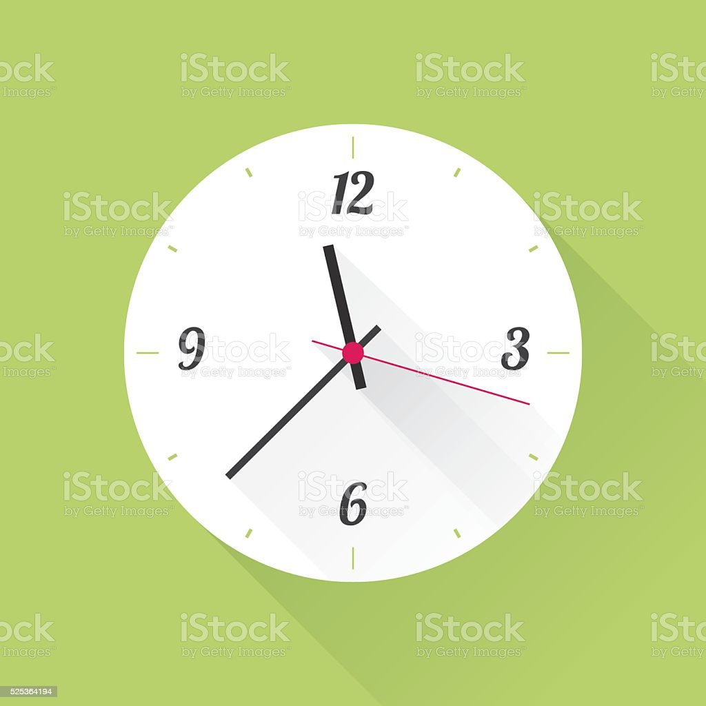 white clock on a green background vector art illustration