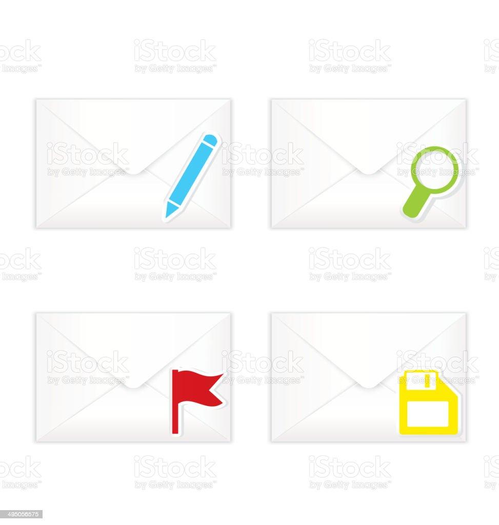 White closed envelopes with flag mark icon set vector art illustration
