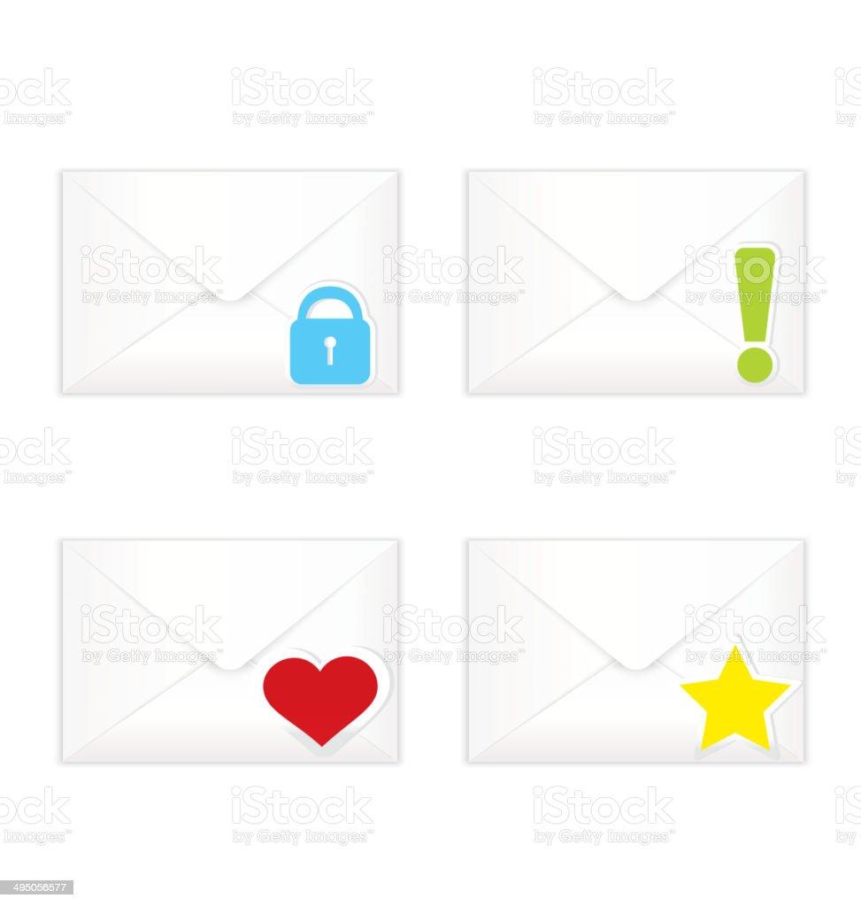 White closed envelopes with marks icon set vector art illustration