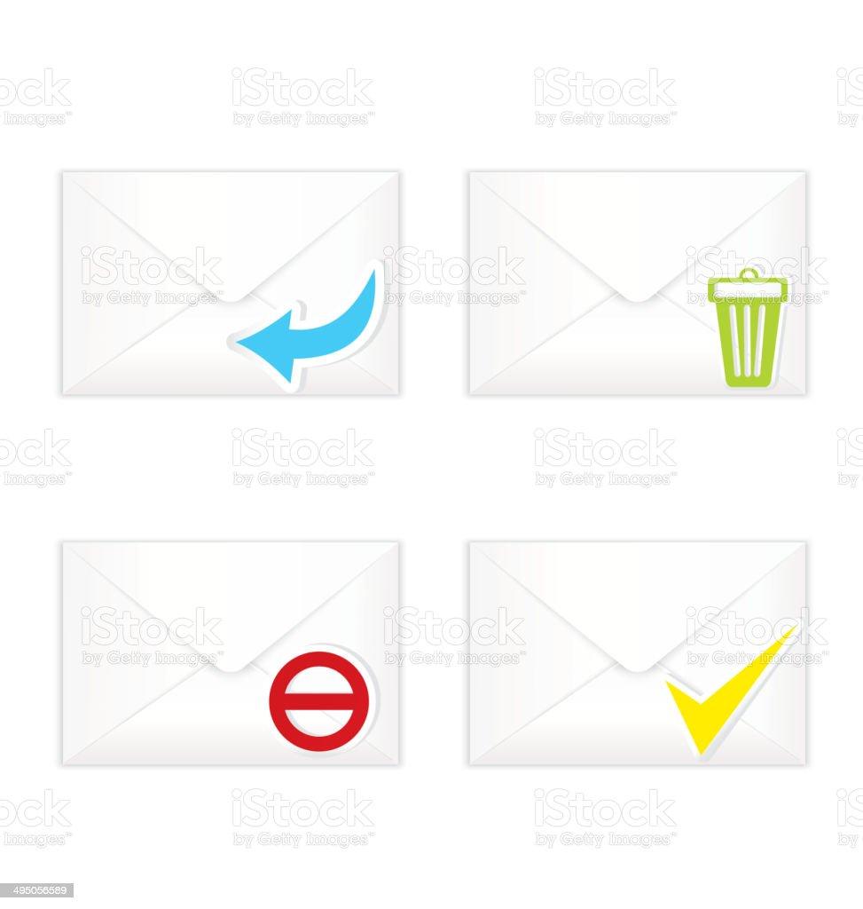 White closed envelopes with trash mark icon set vector art illustration