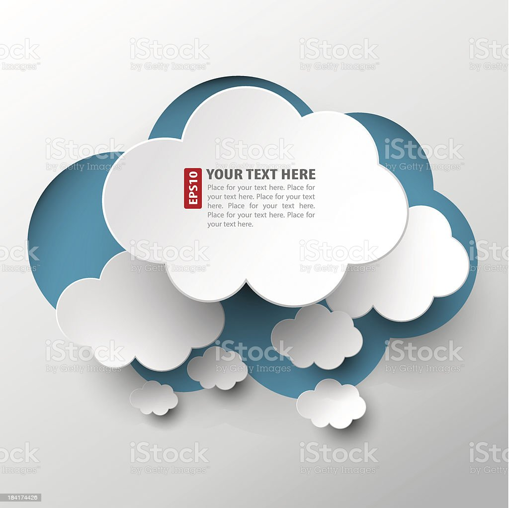 White cloud cutouts arranged over blue cloud vector art illustration