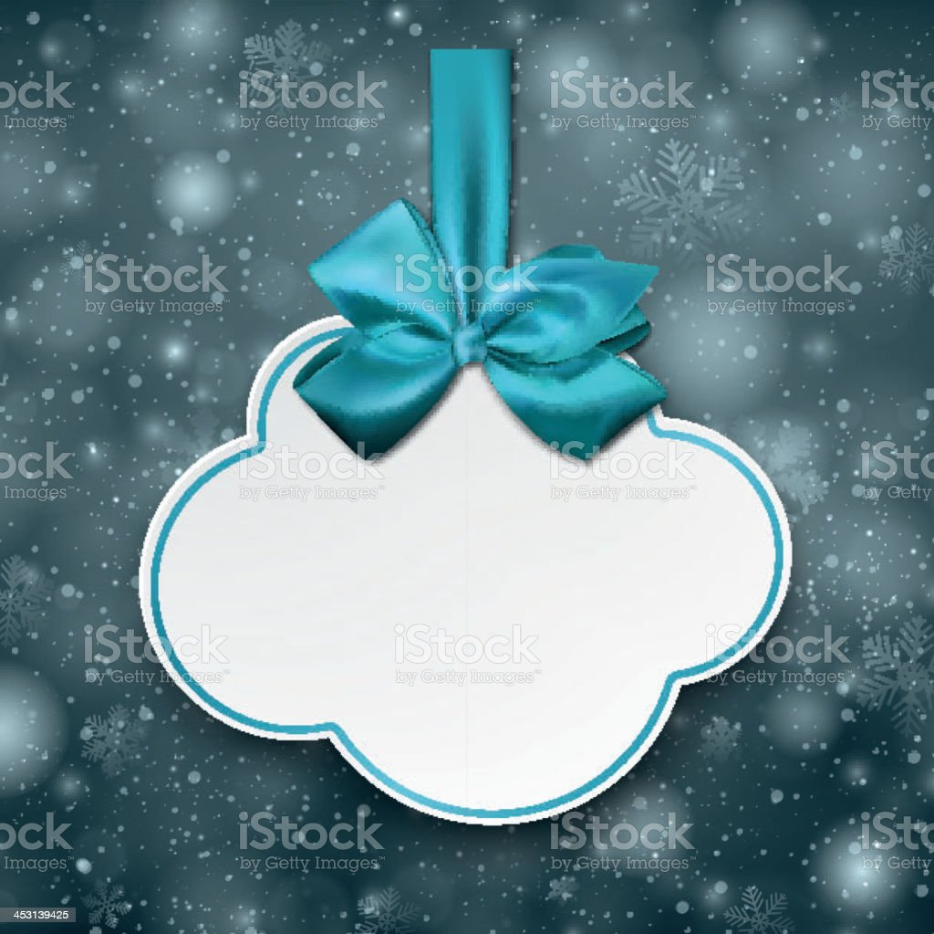 White cloud gift card with blue satin bow. vector art illustration