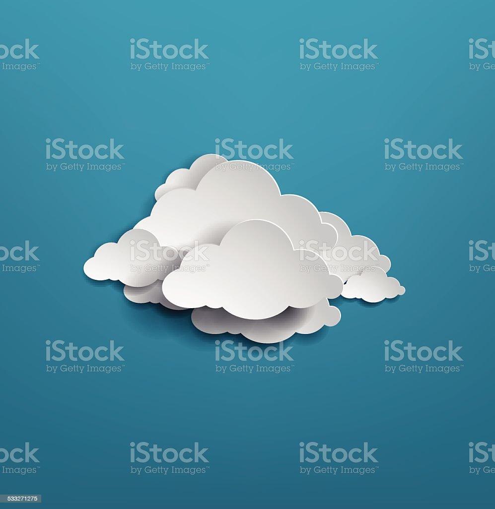 white cloud on blue background. vector illustration vector art illustration