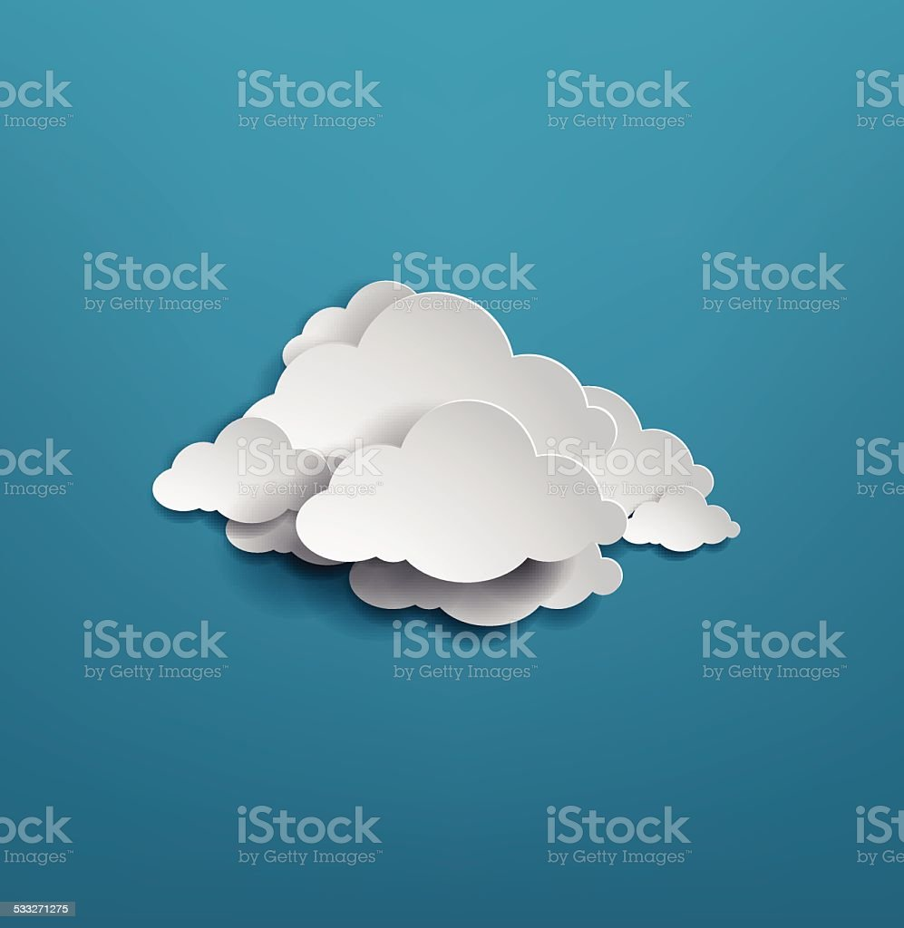 white cloud on blue background. vector illustration vector art illustration
