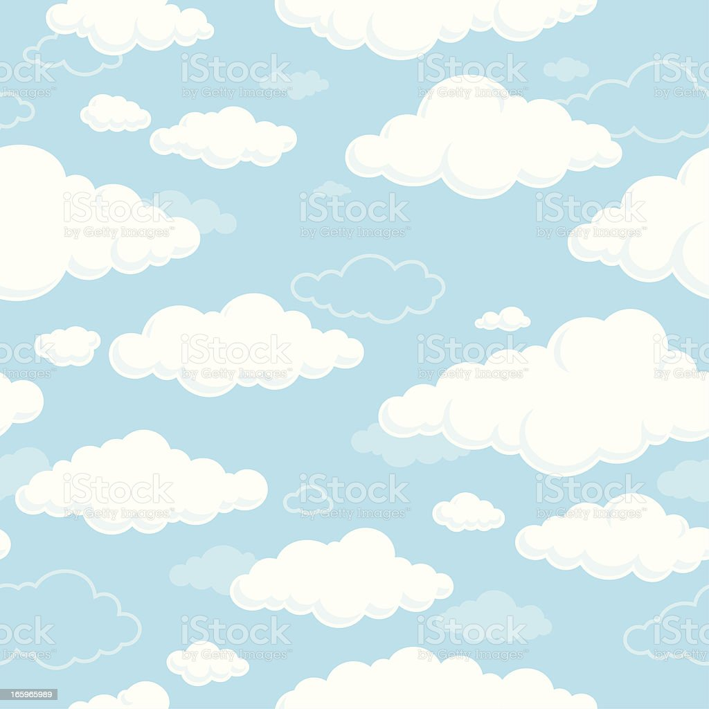 White clouds and blue sky seamless vector art illustration