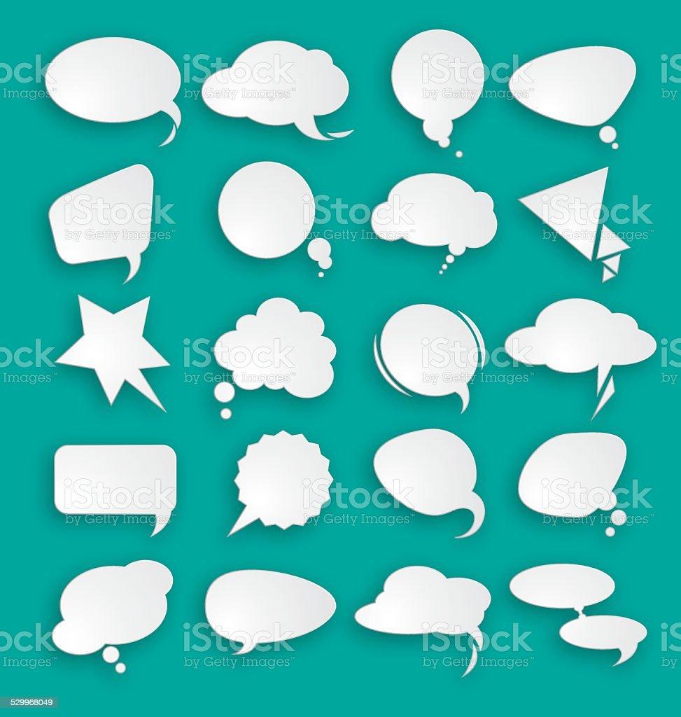 White clouds dialog vector art illustration