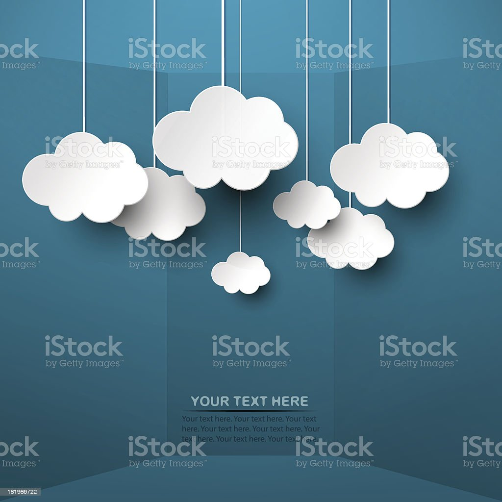 White clouds hand from strings on blue background vector art illustration