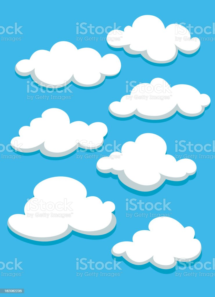White clouds set on blue sky royalty-free stock vector art