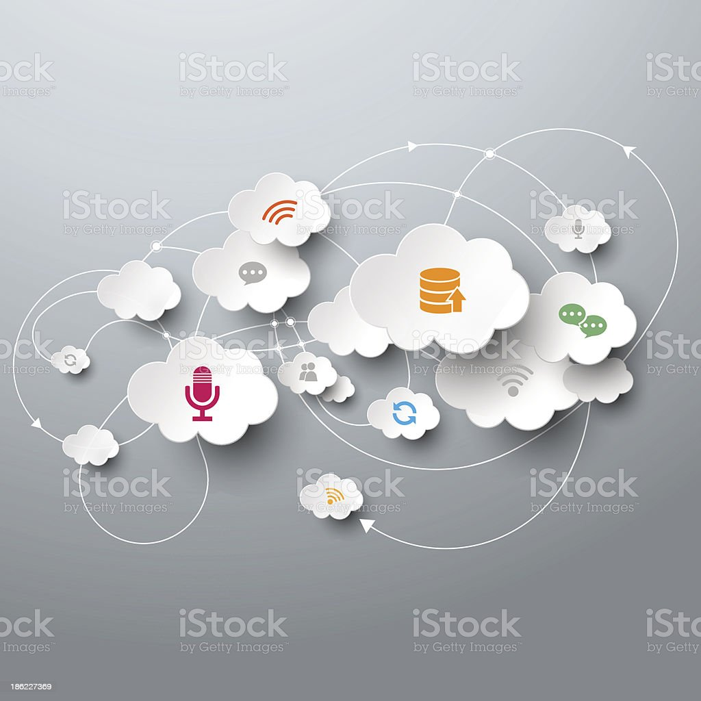 White clouds with icons and connecting arrows vector art illustration