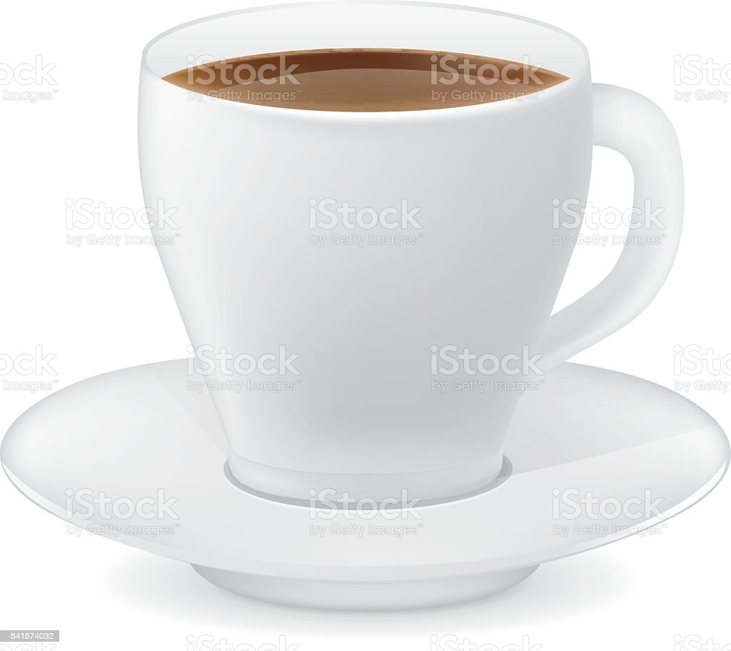 White coffee cup and saucer vector art illustration