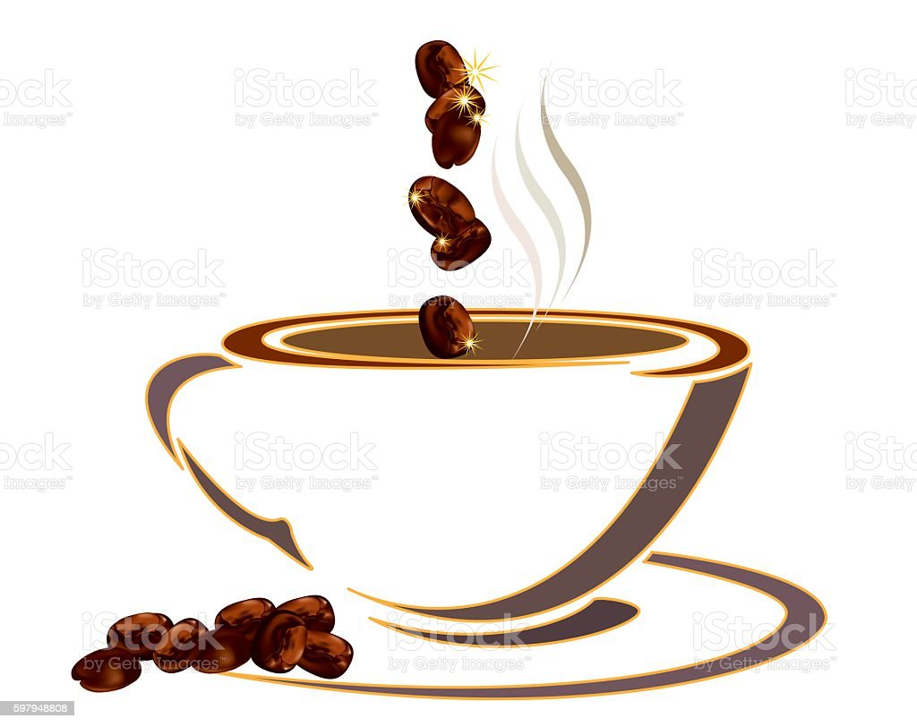 White coffee cup with coffee beans on black background vector art illustration