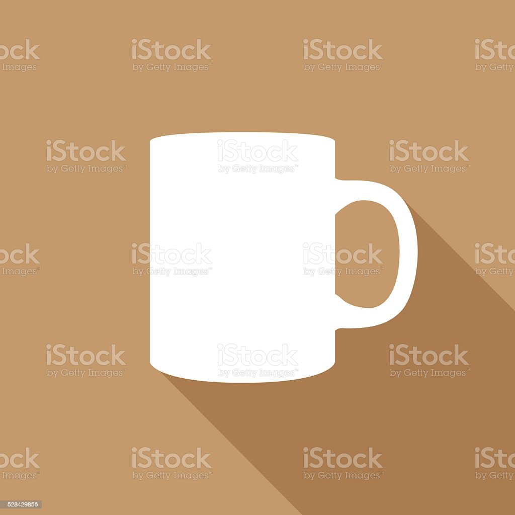 White Coffee Mug Icon vector art illustration