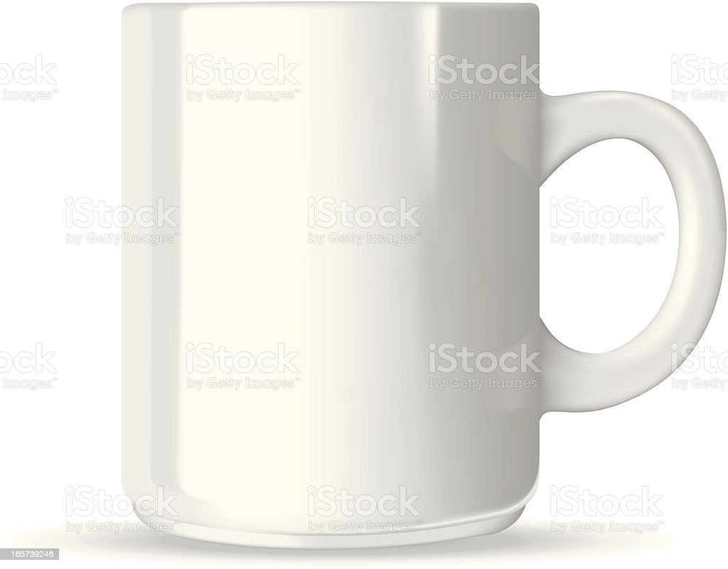White coffee mug vector art illustration