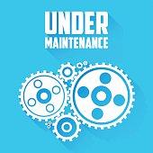 White Cogwheels. Under Maintenance Website Page Message