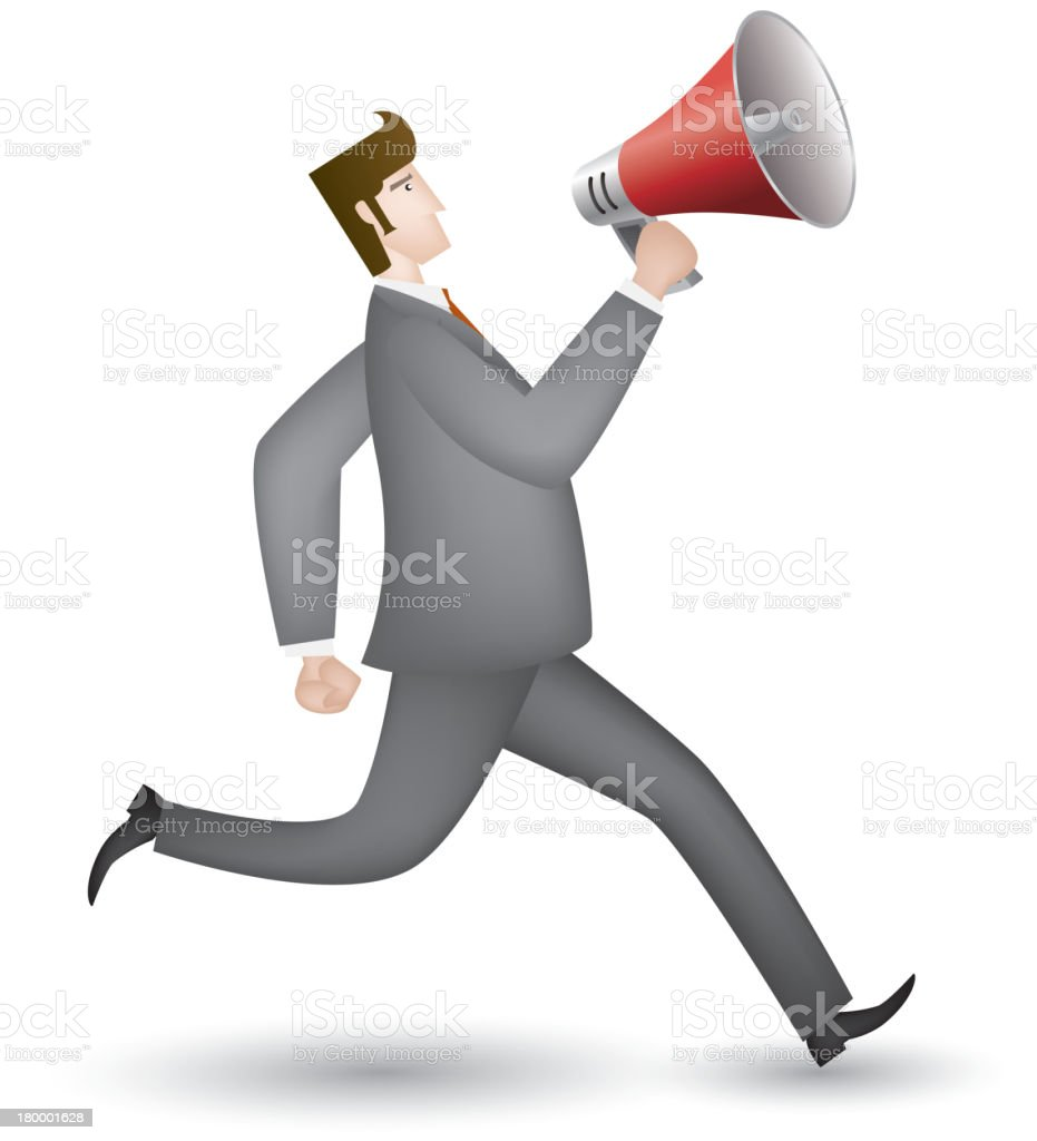 White collar holding a megaphone royalty-free stock vector art